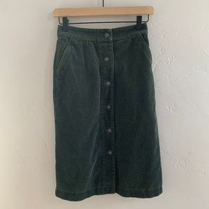 Uniqlo Green Corduroy Midi Button Down Skirt 24/25